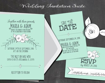 Turquoise w/Flowers Wedding Suite