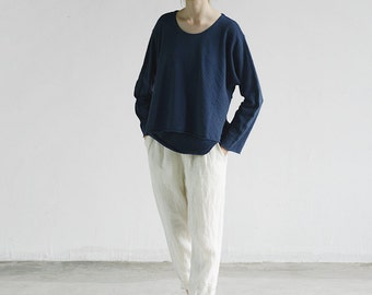 Blue layered textured cotton tops pullovers BonLife