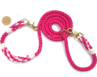 Sample Sale!! Solid Fuchsia Pink Braided Multifunctional(convertible /adjustable /hands-free) Two Tone Leash with Brass Snap for Medium Dogs