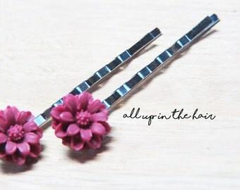 Burgundy Flower Bobby Pins