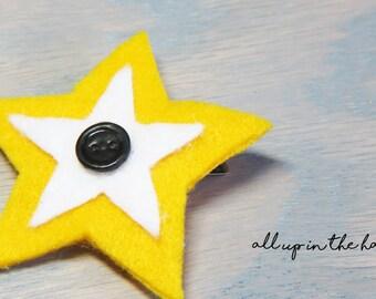 Star Barrette - Yellow Star Barrette - Felt Star Barrette
