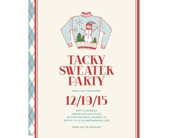 Tacky Holiday Sweater Party Invitation with hand-drawn sweater - Printable and Personalized