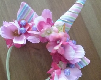unicorn headband birthday unicorn pastel rainbow mini party hat unicorn headband with ears flowers
