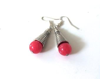 Pink ethnic earrings, pink drop earrings, ice cream earrings, boho chic earrings, christmas gift