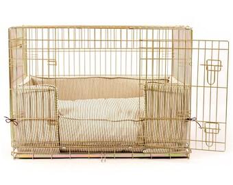 Dog Crate, Bumper and Cushion Set In Regency Stripe