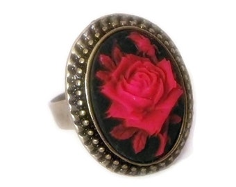 Ring cameo retro vintage rockabilly pin up pink red