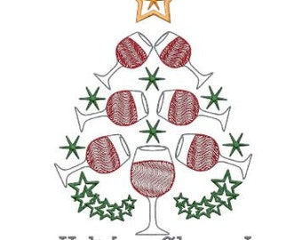 Holiday Cheers Christmas Tree Embroidery Design Pattern File