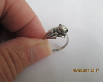 Cat Ring..Sterling Silver..small..sleeping..New..Taxco