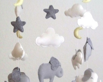 white and gray elephant baby mobile, elephant mobile, baby mobile, yellow moon mobile, gray nursery decor, yellow gray nursery decor,  baby