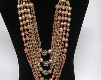 Vintage Multi-Strand Necklace Pearlized Pink Beads & Large Crystal Beads