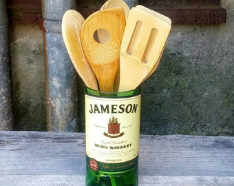 Upcycled Glass Utensil Holder With Bamboo Serving Spoons - Recycled Jameson Irish Whiskey Decor