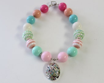 Easter Chunky Gumball Necklace with Multi-Colored Rhinestone Easter Egg Pendant 4027