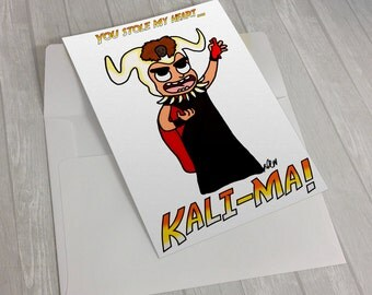 kali-ma, indiana jones, parody, anniversary card, you stole my heart, funny card, card for him, card for her, funny greeting card, love c