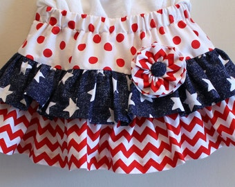3T/4T - Ruffled, Toddler 4th of July Twirl Skirt - Ready to Ship