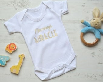 Mummy's Miracle | Mommy's Miracle | Newborn Outfit | Baby Shower Gift Idea | New Baby Gift | Coming Home Outfit | White Bodysuit