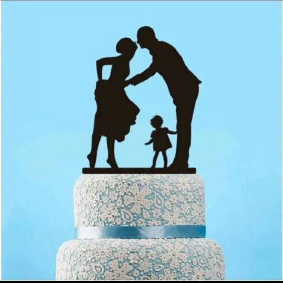 wedding cake toppers bride groom daughter groom family wedding cake topper silhouette 26425