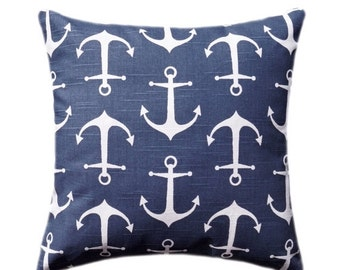 Blue Pillow, Nautical Pillow Cover, Navy Anchor Throw Pillow Cover, Nautical Decorative Pillow, Navy Accent Pillow, Navy Pillow Sham, Sailor