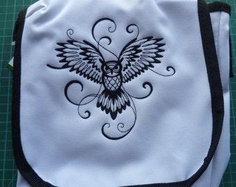 Owl Reporter Bag Embroidered Handbag Messenger Swirly Owl Strigidae
