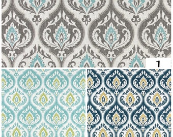 "50"" Pair of rod pocket drapery panels designer curtains 50 x 84 108 Damask Indigo Blue Gold Aqua Green Ivory long curtain"