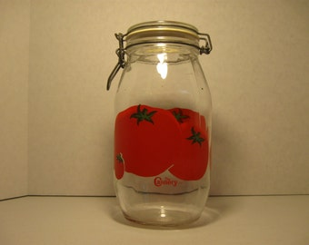 Vintage Cannery Two Liter Wire Bail Jar   Wide Mouth   Tomato Design   Kitchen Food Storage   Craft Room