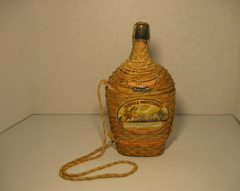 Mid Century 1945 Wrapped Tequila Bottle With Cork and Labels Empty Tequila Bottle