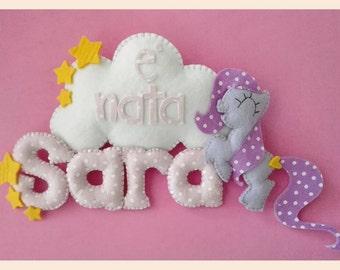 Stitchable, felt banners with custom name. Baby newborn nursery wall decor.