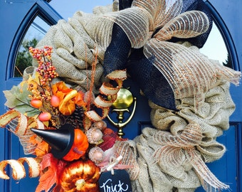 "16"" Halloween Trick-or-Treat Burlap Wreath"