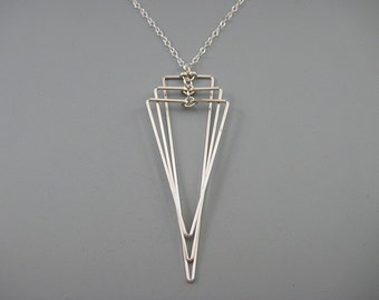 Triangle Necklace - architecture necklace on delicate sterling silver chain, geometric jewelry, art deco wedding, Tiered