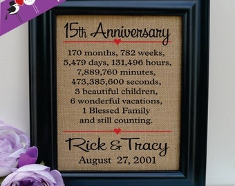 15th anniversary gift to wife Anniversary Gift to Husband Anniversary Gift for wife Gift for Husband Gift to her Gift to him (ann302-15)