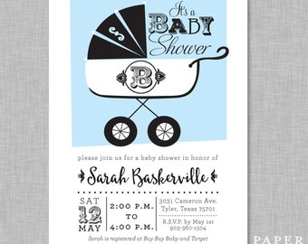 Baby Shower Invitation with Vintage Carriage