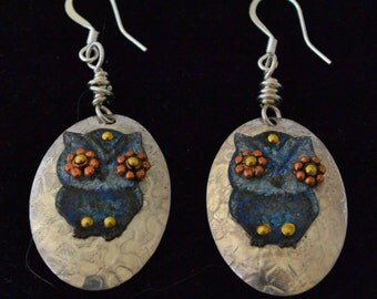 Owl Earrings - Blue Midnight Owl Earrings