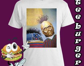 Star Wars. Bert and Ernie. Funny. Vintage. Retro. Mens Cotton T-shirt. Cool!!!