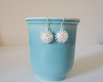 Sterling Silver Starburst Earrings, 925 Sterling Silver, Drop