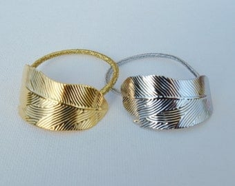 Feather Ponytail Holder Gold & Silver
