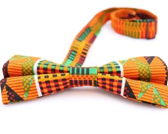 African Print -orange kente -bow tie