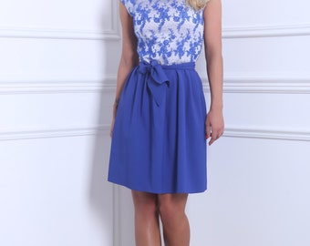 Blue Top Lace Mini Women's Dress Sleevesless Above The Knee