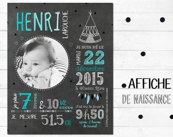 Poster to remember naissance_FICHIER numerique_faire-part of birth, tee - EEP, birth chart, slate table, Blackboard