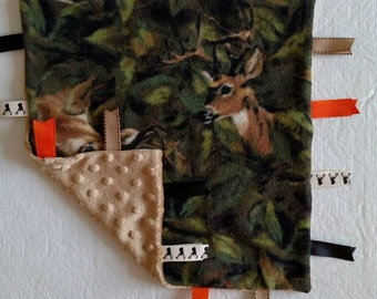 Deer Infant Security Blanket with Ribbons