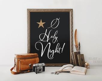 Christmas art print, Printable art, Christmas sign, O Holy Night print, Christmas lyrics art print, Christmas printable HEART OF LIFE Design