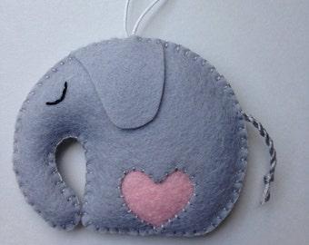 Wool Felt Elephant Ornament/ Gift For an Expectant Mother/ Nursery Decor