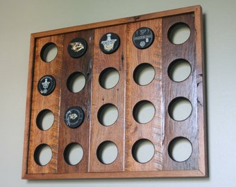 Made to order, Reclaimed Wood Hockey Puck Display