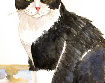 "Tuxedo Cat, Original Watercolor Painting, 5""X7"""