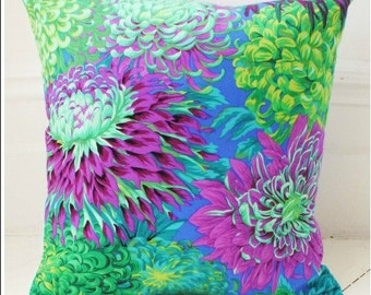 Retro floral cushion cover blue purple flowery pillow vintage bright flowers Philip Jacobs designer fabric funky floral cushion cover cool