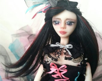 OOAK Art Doll Gothic Lucinda has promotion price with her special wood box and doll stand!