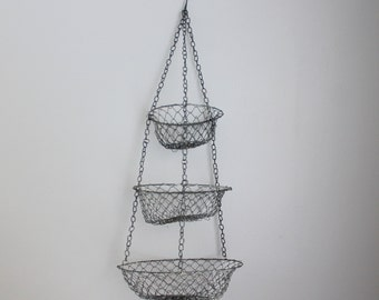 vintage hanging basket fruit basket metal 3-tier basket wire basket kitchen storage basket vintage hanging basket rustic decor boho decor