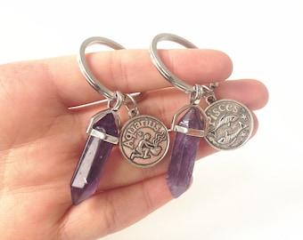 amethyst keychain, crystal keychain,bridesmaid keychain,quartz keychain, boho keychain, boho key chain,amethyst crystal point, amethyst