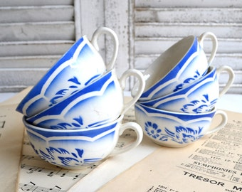 Set of 6 French Vintage Blue Stencilware Tea Demitasse Coffee Cups Art Deco Digoin Sarreguemines Andre