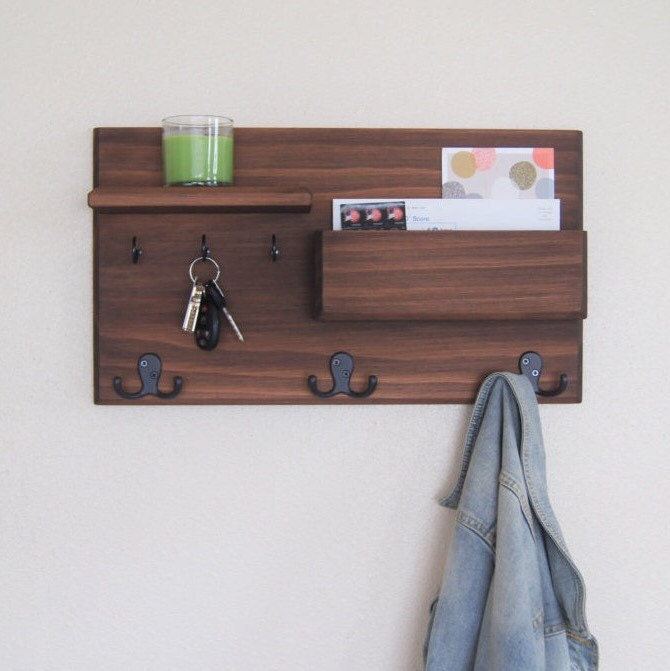 wall coat rack floating shelf entryway by midnightwoodworks. Black Bedroom Furniture Sets. Home Design Ideas