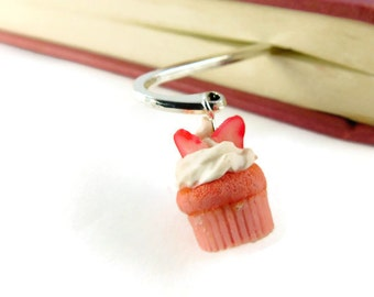 Strawberry Cupcake Bookmark - Book Club Gift Ideas - Book Accessories - Unique Bookmarks - Custom Bookmarks - Scented Polymer Clay Charms