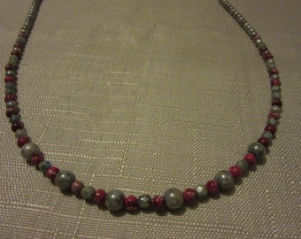 Pink Impression Jasper and Czech glass necklace